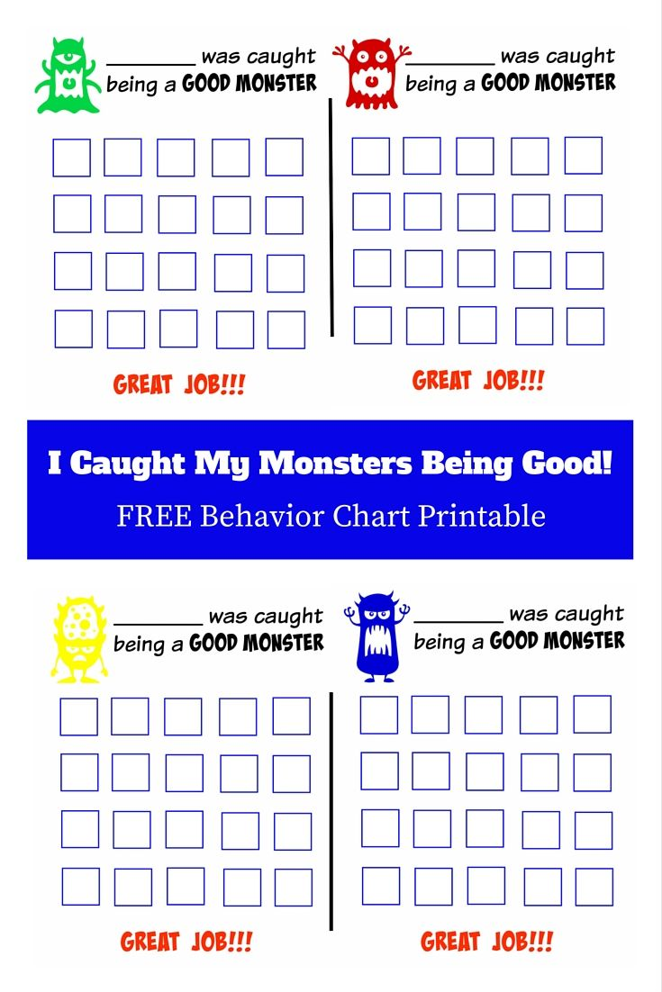 I Caught My Monsters Being Good!!! Use this FREE Good Behavior Chart as an incentive for good behavior.