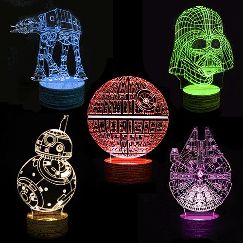 "Light up your dark side with Star Wars 3D Deco Lamps Laser engraved 3D designs Includes remote control for 13 color change display, brightness adjustment and 4 display modes (flash, strobe, fade, smooth). Cold LED light source - panel is cool to touch 5mm thick acrylic light panel Powered by USB charging cable (included) Comes with light panel, wooden base and micro-USB cable & remote control. Approx. 9.37"" x 6.2""/ 23.8cm x 15.8cm These awesome Star Wars 3D Deco Lamps will help you see in..."