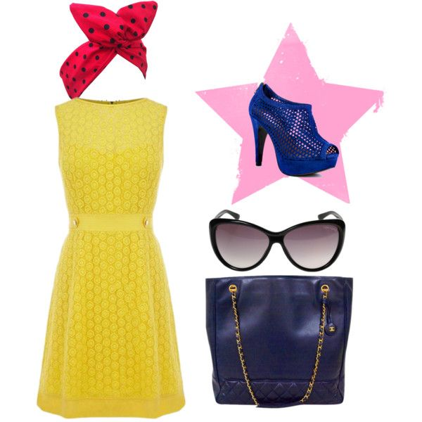 I'm in love by kikajit on Polyvore featuring Steve Madden, Chanel, Tom Ford, polka dots, heels, high, yellow dress, dress and navy