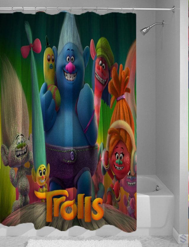 Cute Trolls Custom Design Movie Shower Curtain Cheap With Images