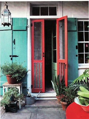 This is what I wanted to do on my covered porch. Screen it in and close it with double doors just like this! Never seen it pictured before. Just in my mind.
