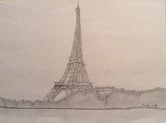 "Eiffel Tower pencil on paper 12"" X 9"" $40"