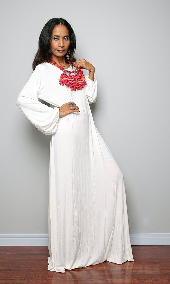 Off White Maxi Dress / Modest Long Sleeved Dress by #Nuichan #shopping ...