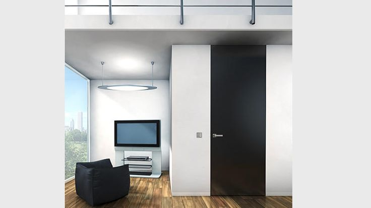 "Bartels ""Flush with the Wall 100"" The matte black finish is a painted door showcasing a multi-step factory technique which leaves a smooth and durable surface. Select from an RAL color chart for a one-of-a-kind door. The visible aluminum edge is optional.  The aluminum edge is all that is visible from a closed position, leaving the selection of door finish to be the striking feature."