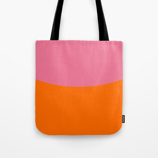 Pink Sky and Orange Field Tote Bag by Bravely Optimistic | Society6