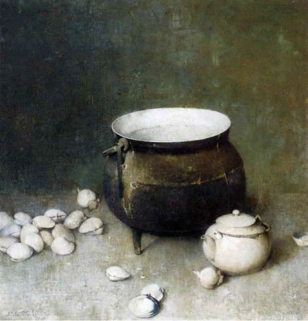 """Iron Kettle with Clams,"""" Emil Carlsen, 1926; Sotheby's"""