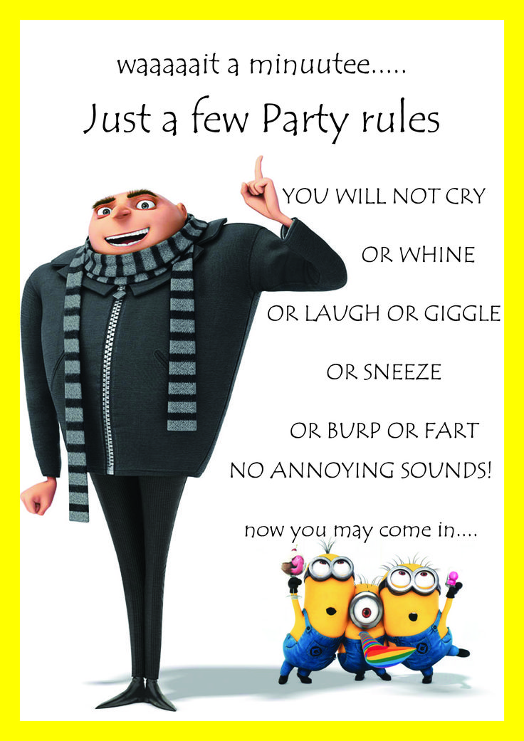 Minion Birthday Gru Party Rules By CreaTive-Me | scouting ...