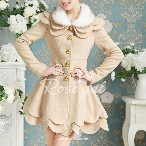 Elegant Turn-Down Collar Long Sleeve Faux Fur Spliced Layered Women's Coat