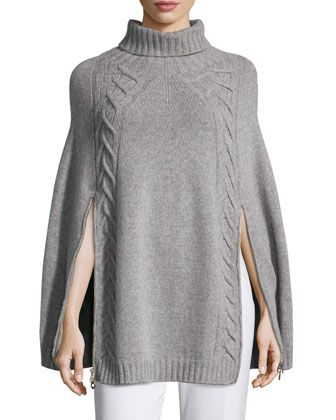 Double-Zip Knit Poncho, Gray by Agnona at Neiman Marcus.