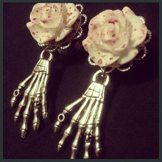 Bloody Rose Skeleton Hand Ear Plugs by TeacupRose on Etsy, $25.00