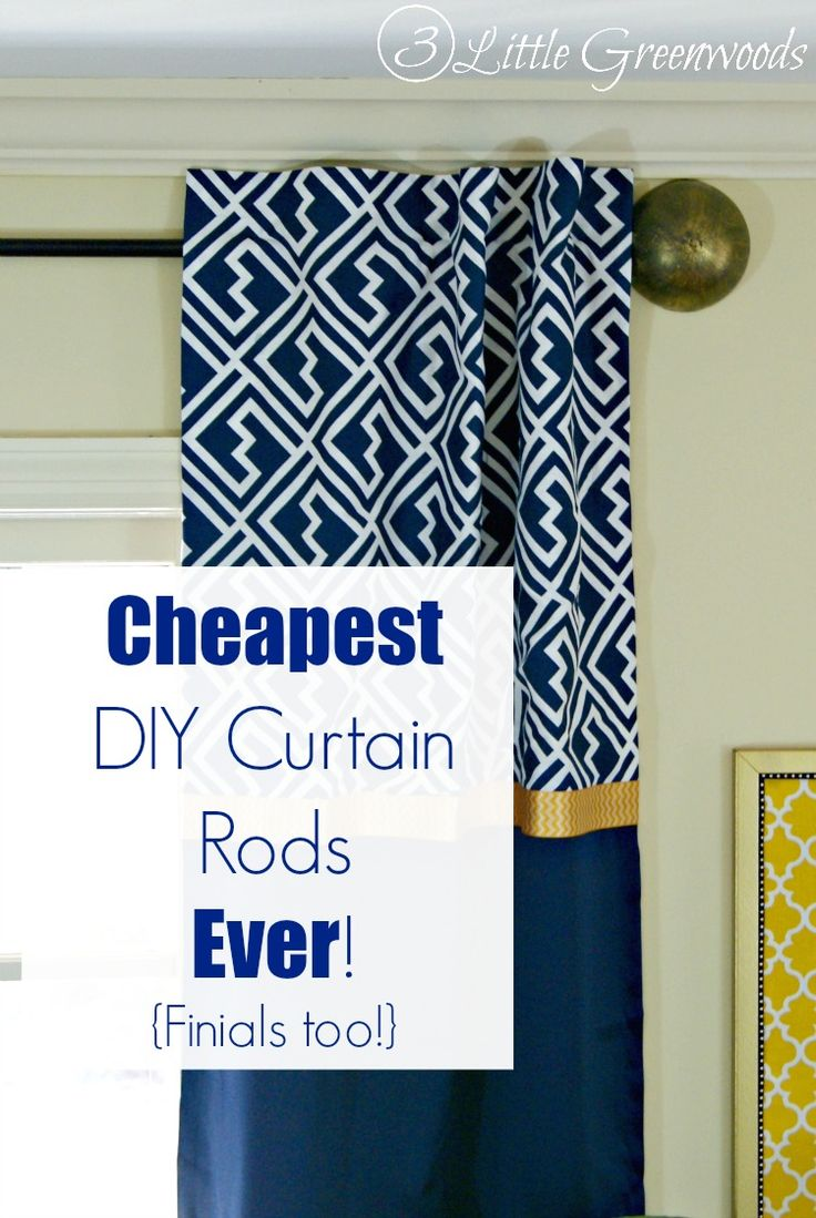 Nautical curtain rod finials - Must Pin Tutorial For The Cheapest Diy Curtain Rods Ever Finials Too By 3