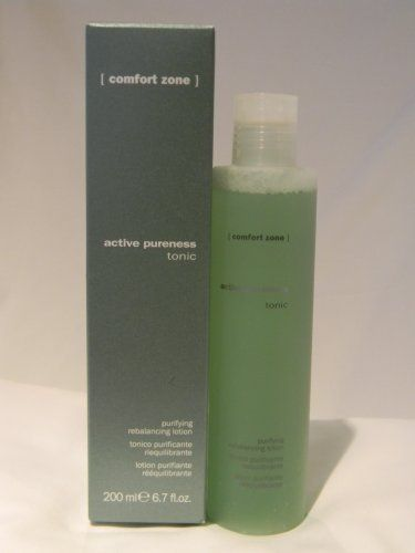 Active Pureness Tonic 6.7 Oz by Comfort Zone. $26.00. Imported from Parma, Italy. Purifying rebalancing lotion. For skin with excess oil and/or acne. Innovative natural rebalancing agents help to contrast the appearance of pores and impurities. With Sebustop,propolis and fruit extracts, a purifying, refreshing, tonifying daily care for impure and oily skin, alcohol free.