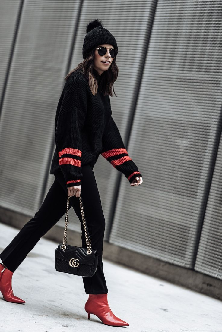 Power color - Striped sleeve sweater   Happy Trails faux fur pom pom beanie   Red point toe ankle boots (Zara, similar here)   Mini Gigi Marmot Bag   Lovers + Friends Crop Flare Pant   51 MM Aviator Sunglasses   #streetstyle