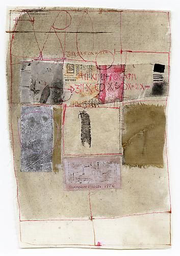 by Hannelore Baron, Untitled, 1976 Fabric, paper and ink on fabric 9.75 x 6.5 inches