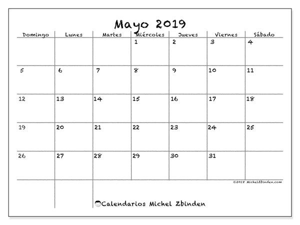 Calendario Mayo 2019 Pdf.Calendario Mayo 2019 77ds Calendarioss Calendario Julio