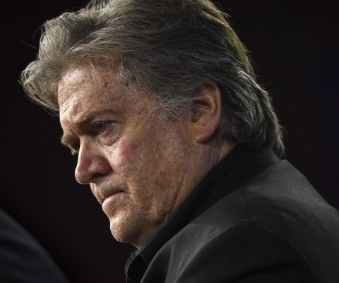 """In his first public speaking appearance since Trump took office, Bannon said of the news media, """"If you think they are giving you your country back without a fight, you are sadly mistaken."""""""