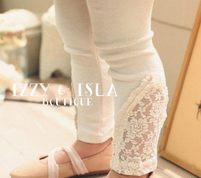 Lace Leggings  Vintage Cream Leggings  Ivory by IzzyandIsla