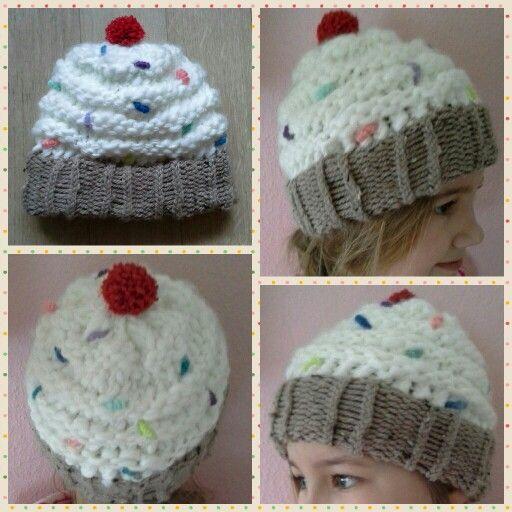 Loom knitting, cupcake hat
