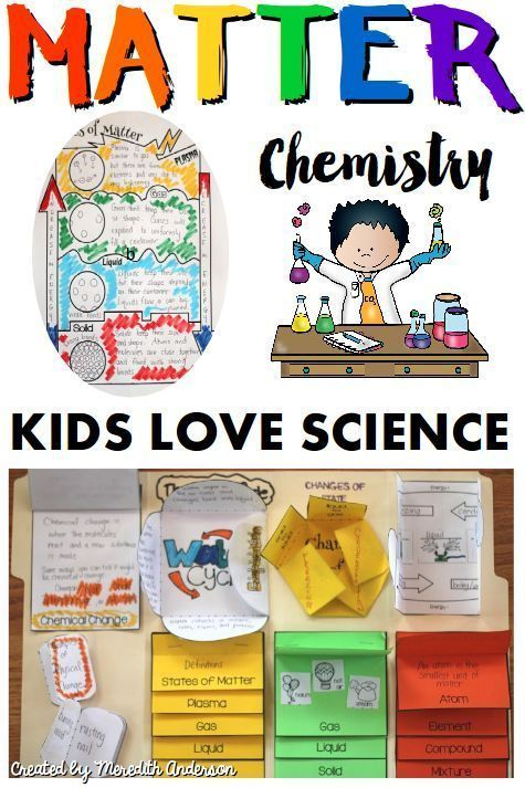 Get your chemistry on! Kids are natural scientists and will love learning about states of matter and more with this Chemistry for Kids resource. Includes 100+ pages of foldable activities, experiments, posters, informational text, and more. Solid, liquid,