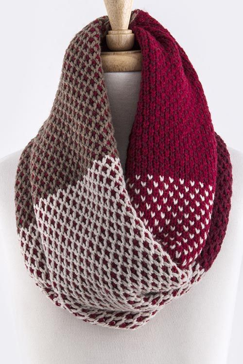 Colorblock Knit Infinity Scarf in Red – Sweater Weather Co.