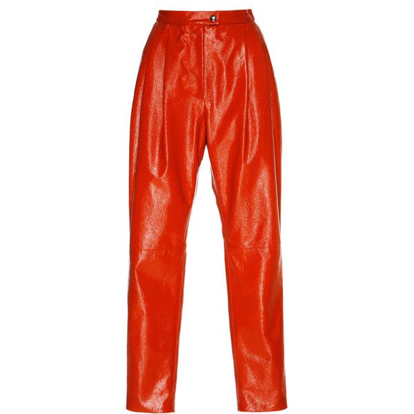 Vivetta Parga High-Waisted Leather Pant (28.959.105 VND) ❤ liked on Polyvore featuring pants, bottoms, red, high-waisted trousers, red high waisted pants, genuine leather pants, high rise leather pants and high-waisted pants