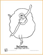 Cycle 2 Great Artists - Degas Ballerina from Art Masterpiece Coloring Pages | Free Printable Coloring Pages