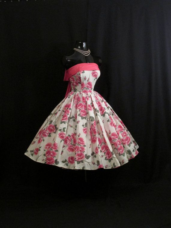 Vintage 1950 50s vestido blanco rosas flores por VintageVortex
