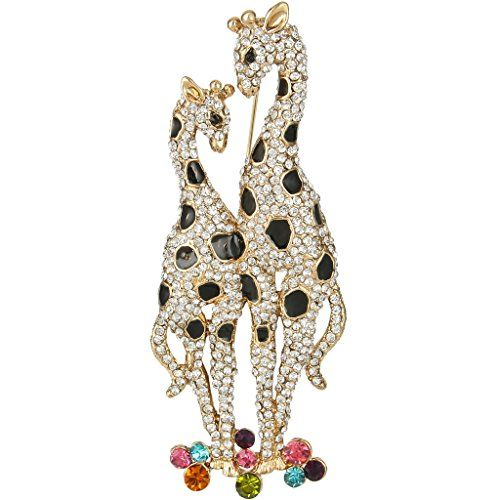 TENYE Women's Austrian Crystal Enamel 2 Lovely Cats with Bowknots Animal Brooch Clear Gold-Tone Y3RgG5Io