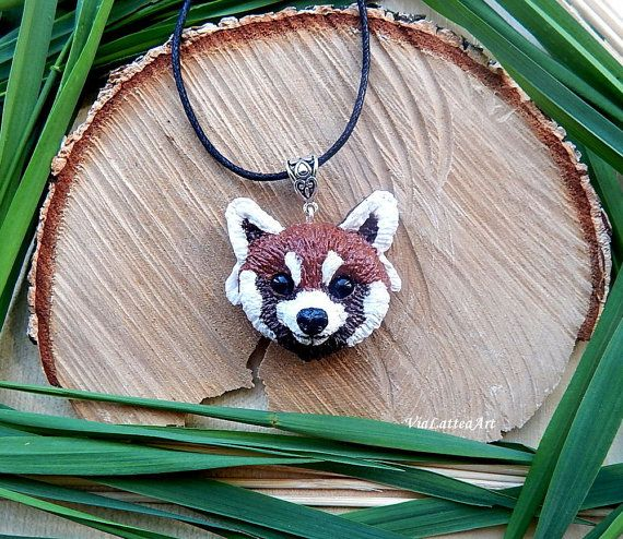 Red panda head pendnt panda jewelry red panda от ViaLatteaArt
