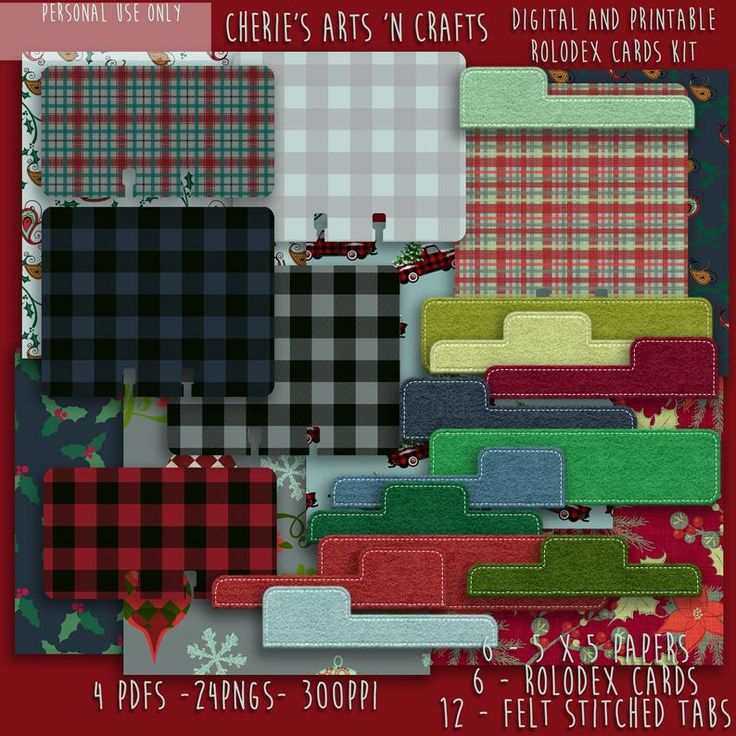 Holiday Plaid Memorydex Cards Kit Rolodex Card Template Etsy Paper Projects Diy Holiday Plaid Rolodex