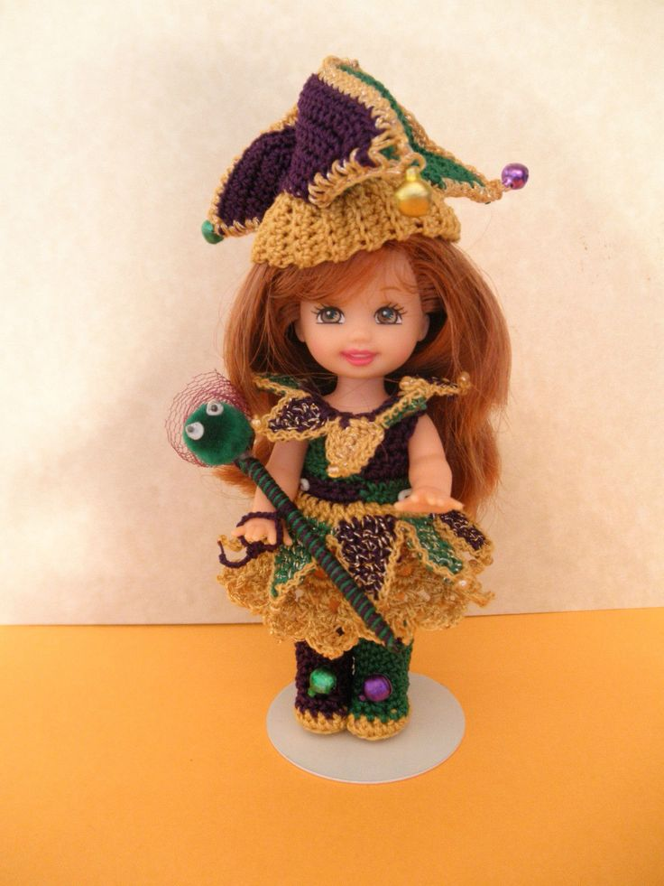 "Crochet Doll Clothes Lime Mardi Gras Jester Outfit for 4½"" Kelly Same Size Doll 