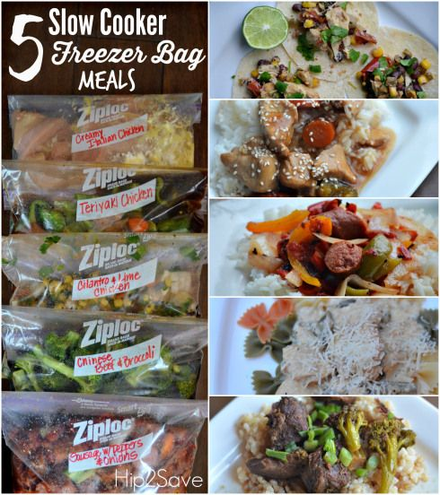 Five Freezer to Slow Cooker Meals //  prep in one hour --> Creamy Italian Chicken, Teriyaki Chicken, Cilantro & Lime Chicken, Chinese Beef & Broccoli, Sausage with Peppers & Onions via Hip 2 Save #crockpot #prepday #freezercooking
