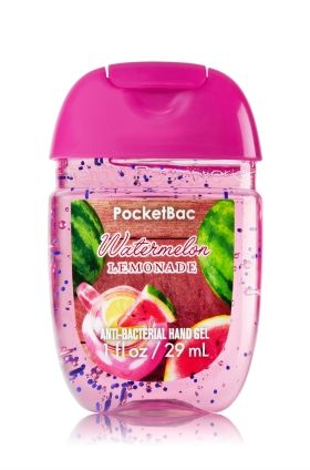 Watermelon Lemonade - PocketBac Sanitizing Hand Gel - Bath & Body Works - Now with more happy! Our NEW PocketBac is perfectly shaped for pockets & purses, making it easy to kill 99.9% of germs when you're on-the-go! New, skin-softening formula conditions with Aloe & Vitamin E to leave your hands feeling soft and clean.