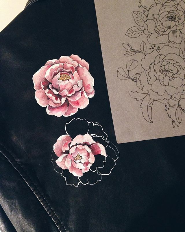 Another hand painted leather jacket in progress for a gorgeous bride to be...