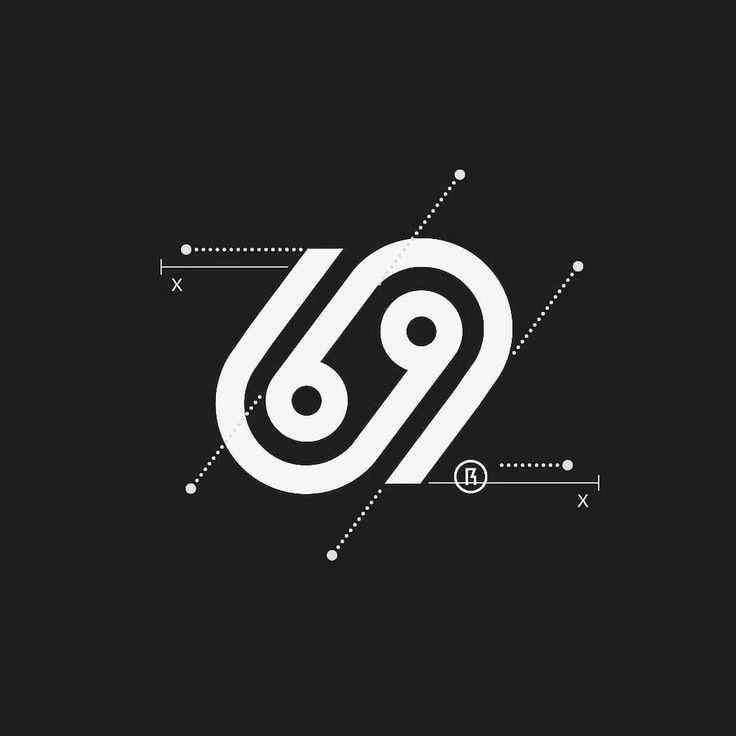 69 logo design, 69 number logo design, 69 logotype letter monogram black and white minimal geometric logo design inspiration ideas for branding and identity graphic design, beautiful and cool minimal logo design ideas.