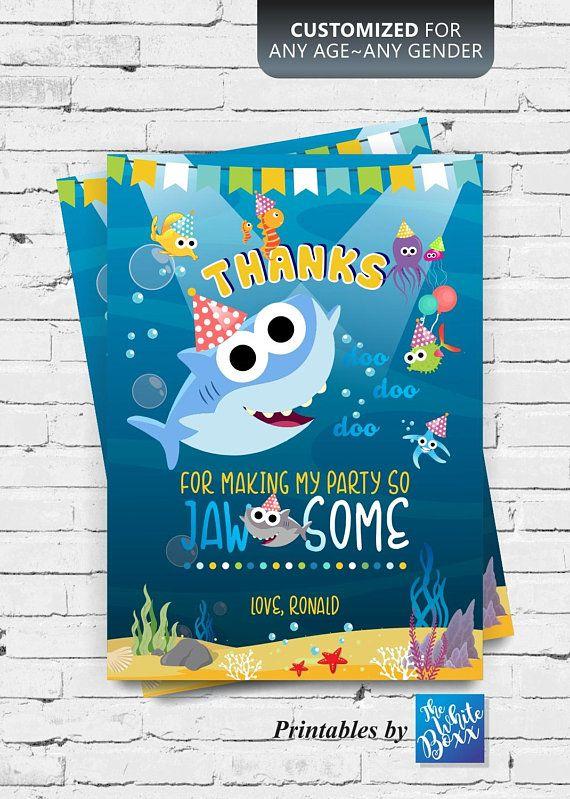 Baby Shark Birthday Thank You Card For Birthday Boy Girl Any Age Birthday Thank You Cards Shark Theme Birthday Shark Birthday
