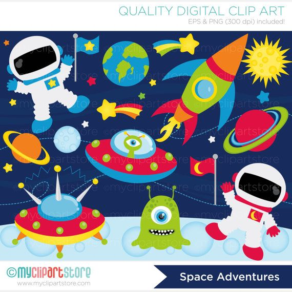 This OUTER SPACE clipart set includes children in space suits, space ships / star ships, aliens, planets, stars, moon, saturn, mars and a rocket