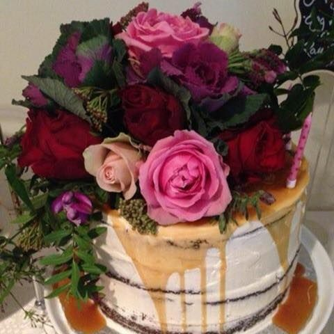 Semi Naked Cake by Cakes by Buds n Roses and the flowers by Eleventh Flower