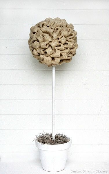 Great Turorial on How to Make Burlap Topiary Trees by Design, Dining + Diapers.