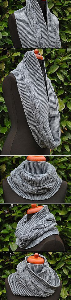 Шарф-снуд. [] #<br/> # #Garter #Stitch,<br/> # #Santa #Clara,<br/> # #Stitches,<br/> # #Scarves,<br/> # #Tric,<br/> # #Braid<br/>
