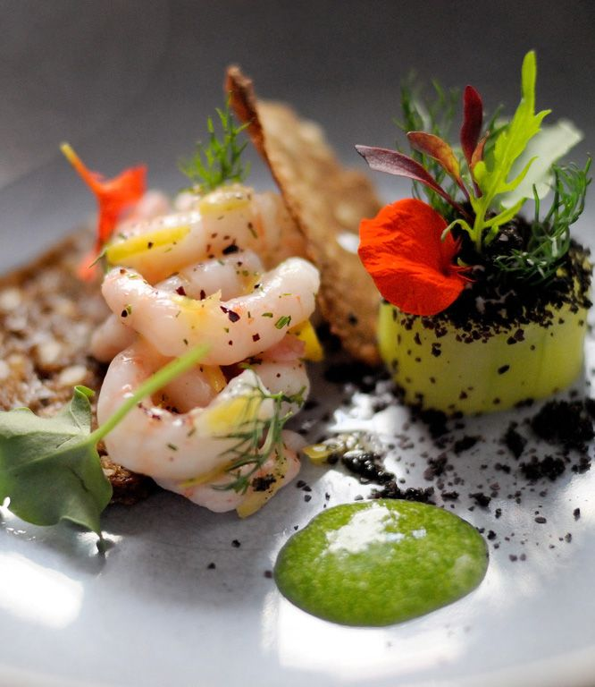 The slightly sour sorrel in this dish is the perfect partner for the fresh prawns and crisp, earthy rye bread. Beautiful on the plate and the palate.