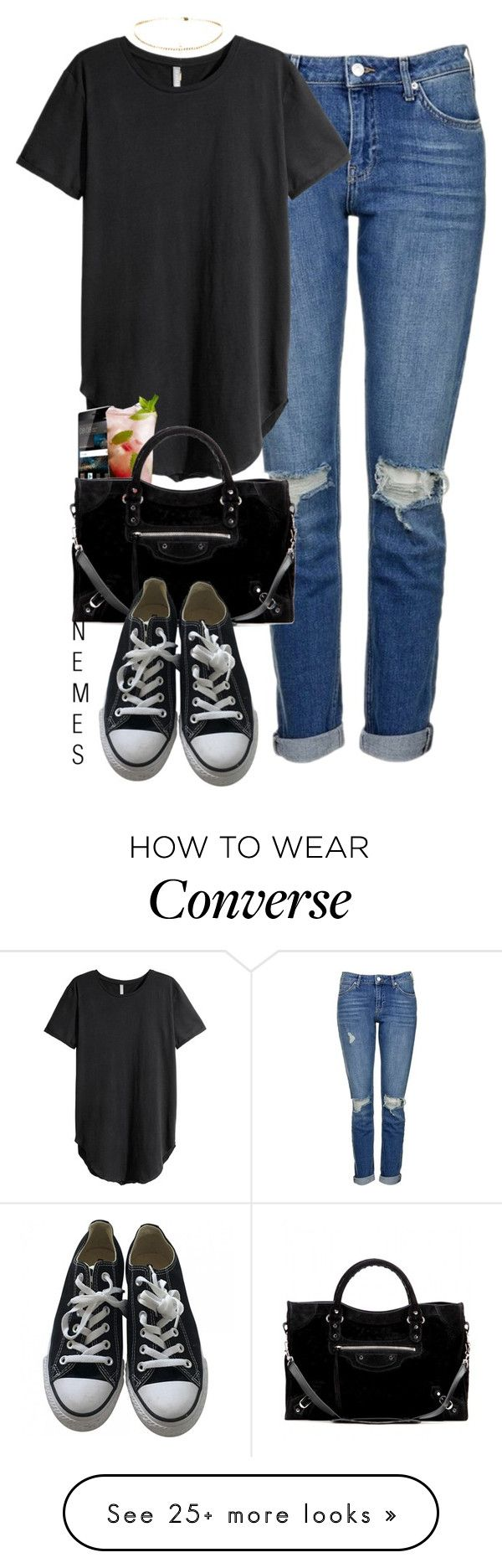"""LOOK AT YOU"" by nemes-margareta-anna on Polyvore featuring Topshop, H&M, Huawei, Disney, Balenciaga and Converse"