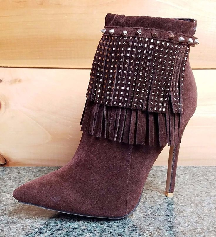 Alba Ricky Brown FX Suede Pointy Toe Rhinestone Fringe Ankle Boot Stiletto Heel