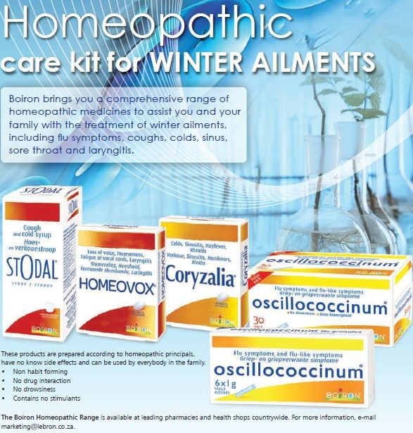 Homeopathic care kit for WINTER AILMENTS  Boiron brings you a comprehensive range of homeopathic medicines to assist you and your family with the treatment of winter ailments, including flu symptoms, coughs, colds, sinus, sore throat and laryngitis.  These products are prepared according to homeopathic principals, have no known side effects and can be used by everybody in the family.  www.lebron.co.za (scheduled via http://www.tailwindapp.com?utm_source=pinterest&utm_medium=twpin)