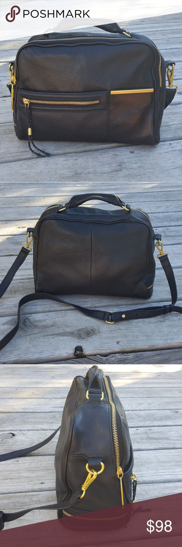 Kelsi Dagger Park Slope Black Crossbody Satchel This unique satchel features black leather, gold hardware, and an adjustable crossbody strap. It is in very good pre-owned condition with only minimal signs of wear. Kelsi Dagger Bags Satchels