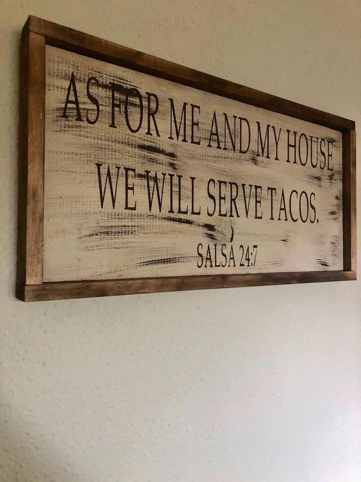 As For Me And My House We Will Serve Tacos Wood Kitchen Decor