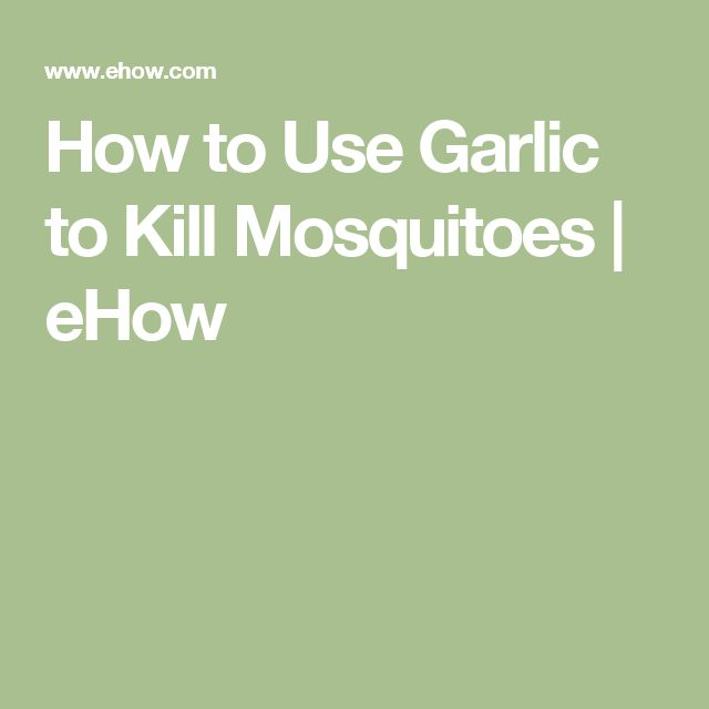 How to Use Garlic to Kill Mosquitoes | eHow