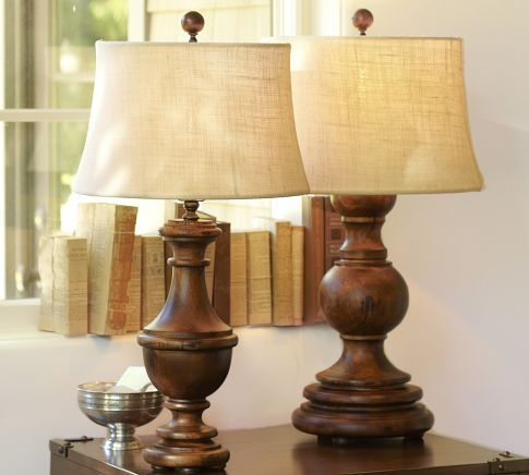 PB Colette table and bedside lamp; pine w/ distressed antique-honey finish; shade comes separately. Very nice, but wobbly due to feet put on base.
