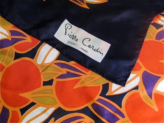 1970's Pierre Cardin Citrus Silk Scarf