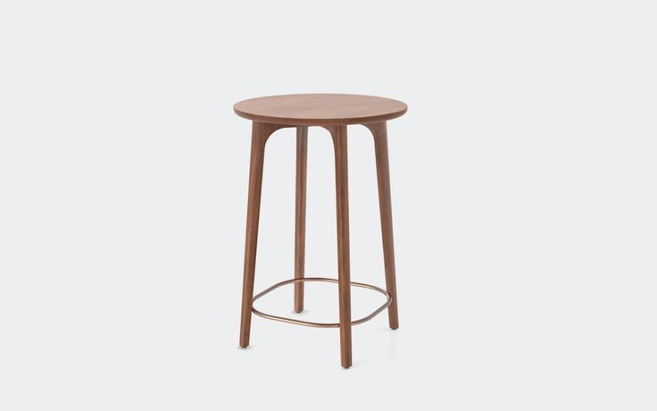 Utility Café Table H900 | Stellar Works | Designed by Neri&Hu | Code: UT-T300 Materials: Solid wood legs, Veneer laminate top, Stainless steel brass finish Dimensions: W641 x D641 x H900mm (C630)